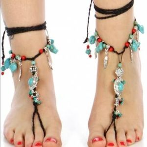 Jewelry - Turquoise charms wrap around anklets. 2 left!
